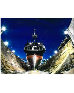 USS Constitution Stern View in Dry Dock Matted Photograph
