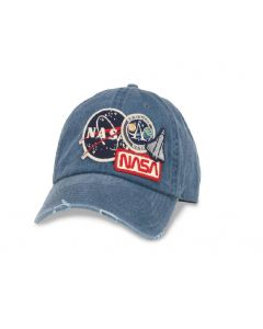 NASA Patch Distressed Denim Ball Cap
