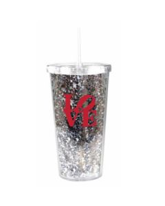 Tall LOVE Glitter Cup with Straw