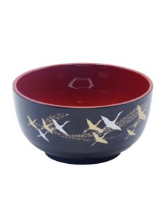 Japanese Crane Lacquer Rice Bowl Black