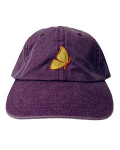 Adult Plum Cap with Yellow Embroidered Butterfly