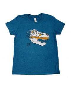 Youth Heather Blue T.Rex Skull T-Shirt