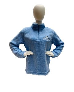 Ladies Lt Blue NY AMNH Faux Sherpa Quarter Zip Pullover