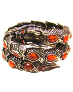 Chinese Dragon Bracelet with Simulated Amber Stones