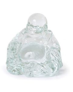 Handcrafted Clear Glass Laughing Buddha