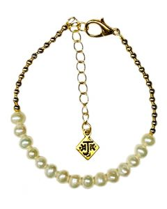 Cultured Pearl and 14k Gold Bead Bracelet