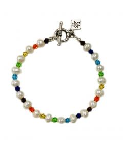 Cultured Pearl and Faceted Crystals Bracelet