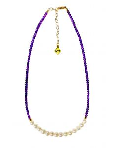 Cultured Pearl and Gemstone Necklace (Purple)