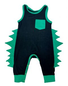 Infant / Toddler Black and Green Dino Spike Romper