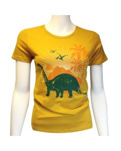 Ladies Antique Gold Dinosaur T-Shirt