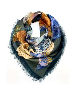 Colorful Butterflies Square Scarf - Gray Border