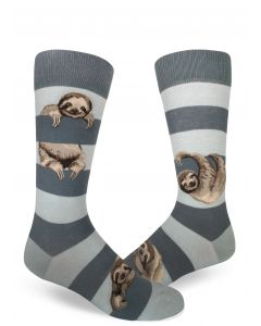 Men's Gray Striped Sloth Crew Socks