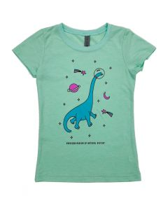 Girls Mint Green Dinosaur In Space T-Shirt
