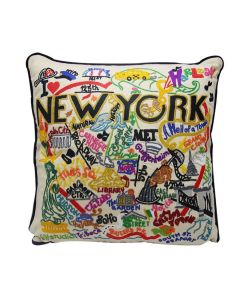 New York City Hand Embroidered Pillow