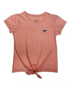 Girls Peach Tie-Front T-Shirt