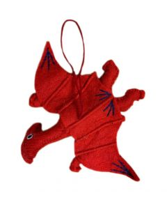 Handcrafted Red Felt Pterosaur Ornament