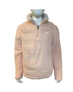 Girls Pink Sherpa 1/4 Zip Pullover- T.Rex Icon