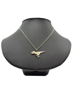 Sterling Silver Origami T. Rex Necklace Closeup