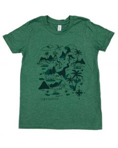 Youth Green Prehistoric Dinosaur Scene T-Shirt