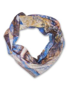 Silk ''Lady in Blue'' Impressionism Scarf