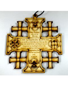Olivewood Jerusalem Cross Ornament