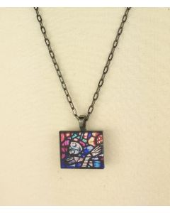 Peaceful Sunflower Stained Glass Pendant
