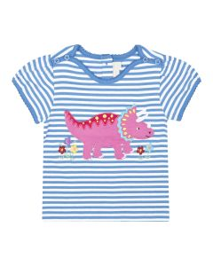 Girls Triceratops Striped Appliqué Tee