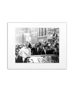 Matted Photo of JFK and Jacqueline in Ticker Tape Parade