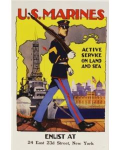 Vintage US Marines Active Service on Land and Sea Recruiting Poster in Sleeve