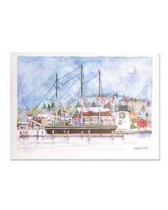 Moon Rise over Mystic Seaport Holiday Cards